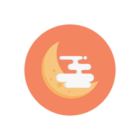 cloud moon vector flat colour icon