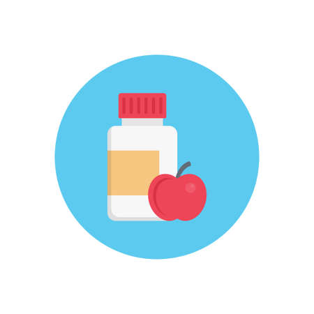 apple bottle vector flat colour icon 向量圖像