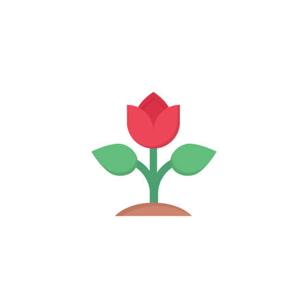 rose vector flat colour icon