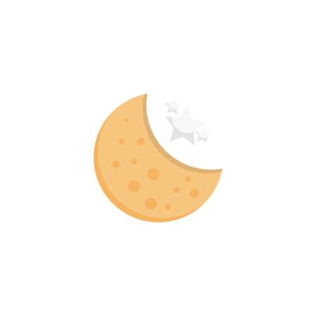 moon vector flat colour icon