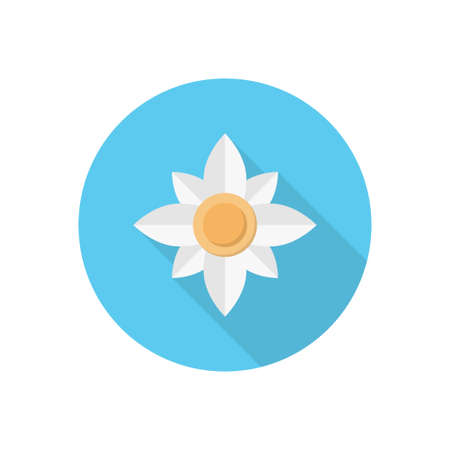 white flower vector flat colour icon 向量圖像