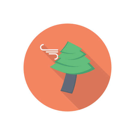 wind tree vector flat colour icon