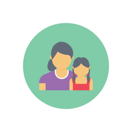 Mom daughter vector flat colour icon