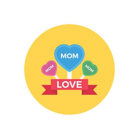 love MOM vector flat colour icon