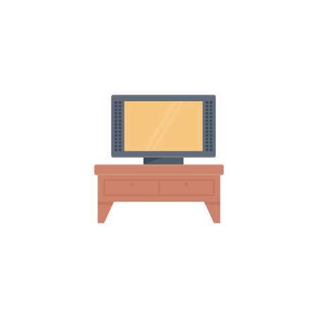 Television table vector flat colour icon