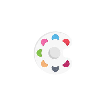 eye palette vector flat colour icon