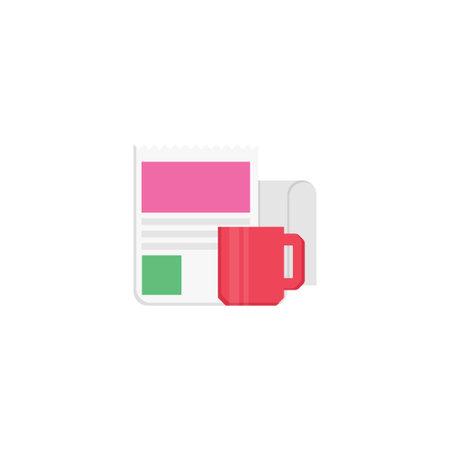 coffee newspaper vector flat colour icon Çizim