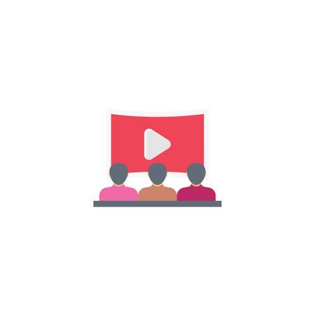 cinema vector flat colour icon