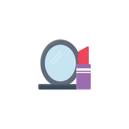 lipstick mirror vector flat colour icon Stok Fotoğraf - 162296145