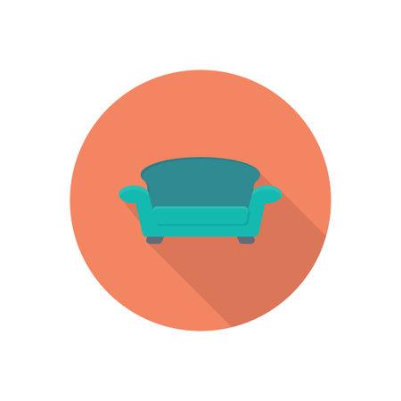 sofa vector flat colour icon