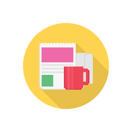 coffee newspaper vector flat colour icon Stok Fotoğraf - 162296164