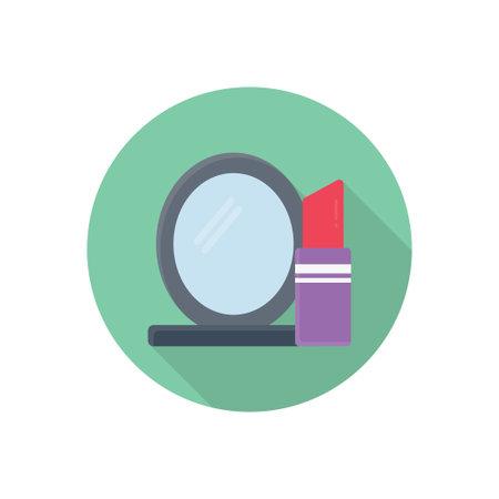 lipstick mirror vector flat colour icon