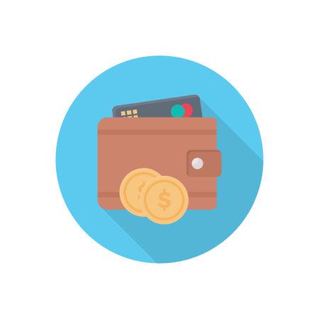 wallet vector flat colour icon