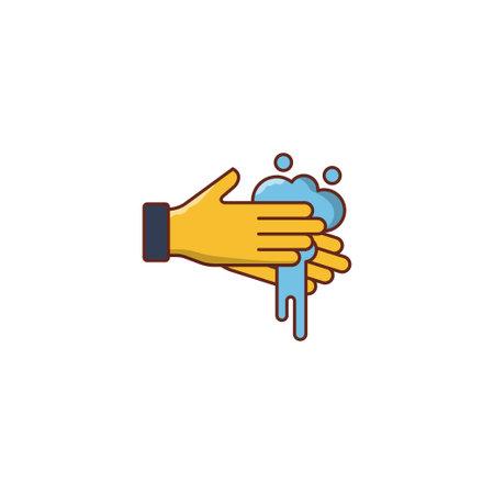 hand wash vector flat color icon