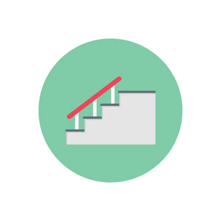 stair vector flat colour icon