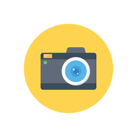 camera vector colour flat icon
