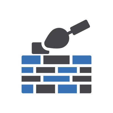 masonry vector glyph colour icon Vetores