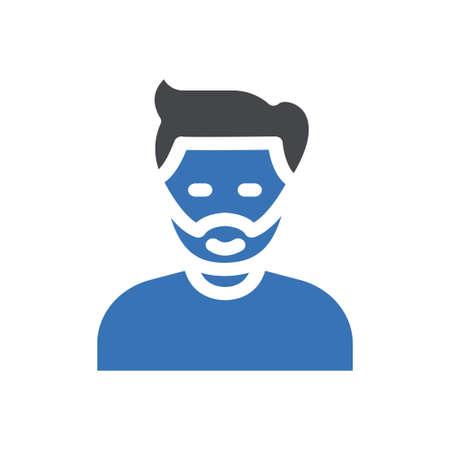 boy facemask vector glyph colour icon