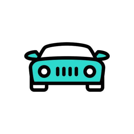 car vector line colour icon