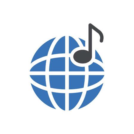 online music vector glyph colour icon