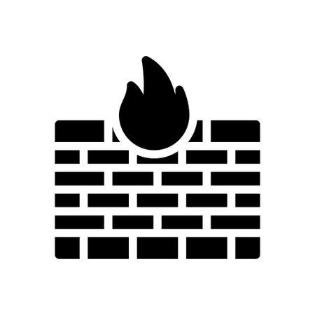 firewall vector glyph flat icon Vector Illustration