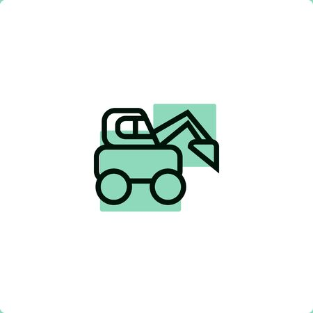 Construction Vehicles: Skid Steer Loader icon Illustration