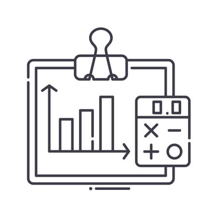 Accounting and finance icon, linear isolated illustration, thin line vector, web design sign, outline concept symbol with editable stroke on white background. Stock Illustratie