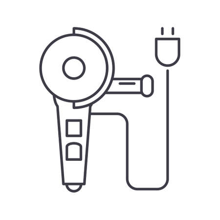 Angle grinder machine icon, linear isolated illustration, thin line vector, web design sign, outline concept symbol with editable stroke on white background. Çizim