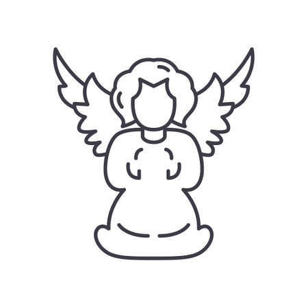 Angelic icon, linear isolated illustration, thin line vector, web design sign, outline concept symbol with editable stroke on white background.
