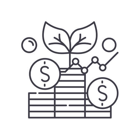Analysis investment icon, linear isolated illustration, thin line vector, web design sign, outline concept symbol with editable stroke on white background.