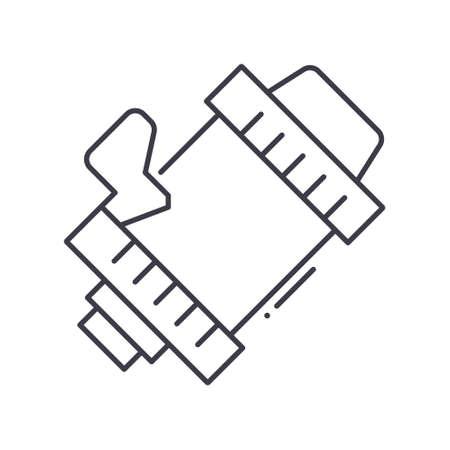 Alternator icon, linear isolated illustration, thin line vector, web design sign, outline concept symbol with editable stroke on white background. 矢量图像