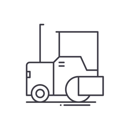 Asphalt paver icon, linear isolated illustration, thin line vector, web design sign, outline concept symbol with editable stroke on white background.