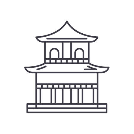 Asian temple icon, linear isolated illustration, thin line vector, web design sign, outline concept symbol with editable stroke on white background. 向量圖像