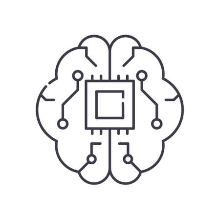 Artificial intelligence brain icon, linear isolated illustration, thin line vector, web design sign, outline concept symbol with editable stroke on white background. Vector Illustration