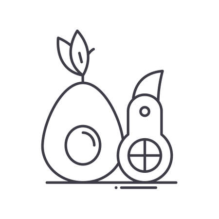 Avocado slicer icon, linear isolated illustration, thin line vector, web design sign, outline concept symbol with editable stroke on white background.