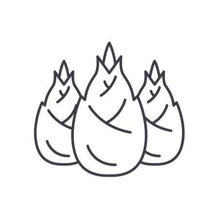 Bamboo shoots icon, linear isolated illustration, thin line vector, web design sign, outline concept symbol with editable stroke on white background.