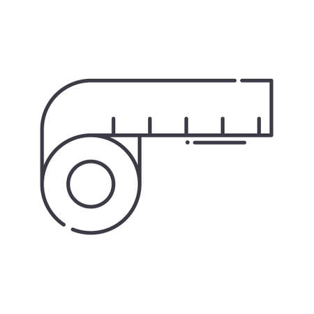 Tape measure icon, linear isolated illustration, thin line vector, web design sign, outline concept symbol with editable stroke on white background.