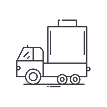 Tank truck concept icon, linear isolated illustration, thin line vector, web design sign, outline concept symbol with editable stroke on white background. Çizim