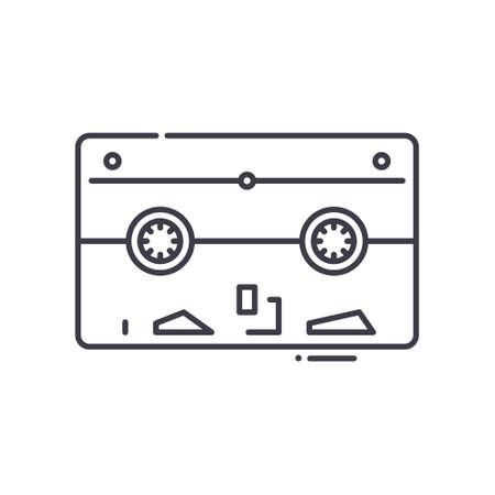 Tape backup icon, linear isolated illustration, thin line vector, web design sign, outline concept symbol with editable stroke on white background. Ilustração