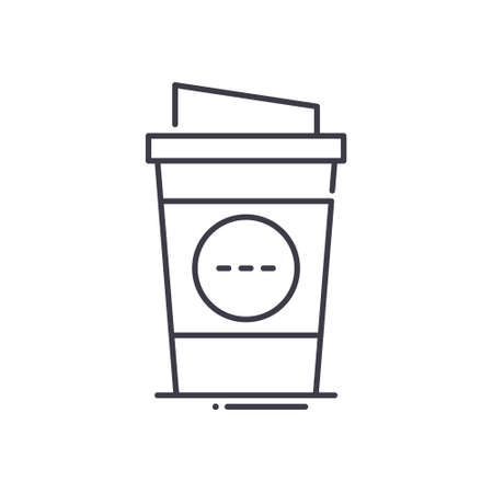 Take out coffee cup icon, linear isolated illustration, thin line vector, web design sign, outline concept symbol with editable stroke on white background.