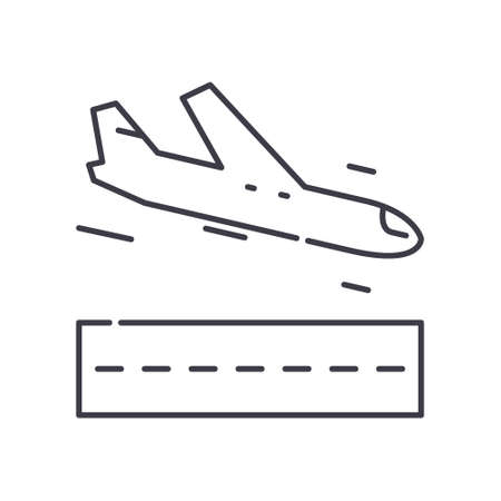 Take off icon, linear isolated illustration, thin line vector, web design sign, outline concept symbol with editable stroke on white background.