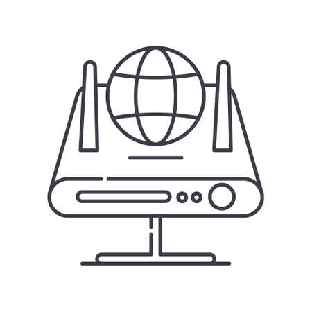 Switch router icon, linear isolated illustration, thin line vector, web design sign, outline concept symbol with editable stroke on white background.
