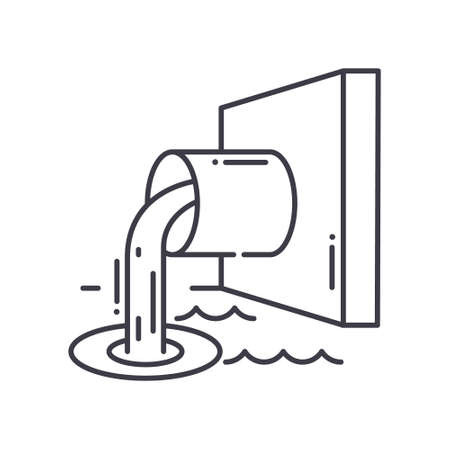 Sewage pipe icon, linear isolated illustration, thin line vector, web design sign, outline concept symbol with editable stroke on white background.