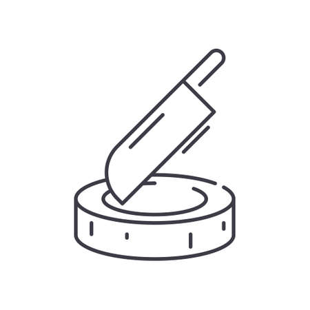 Block and cleaver concept icon, linear isolated illustration, thin line vector, web design sign, outline concept symbol with editable stroke on white background.