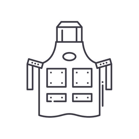 Barber apron icon, linear isolated illustration, thin line vector, web design sign, outline concept symbol with editable stroke on white background. 向量圖像