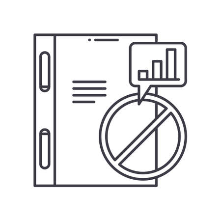 Business failure icon, linear isolated illustration, thin line vector, web design sign, outline concept symbol with editable stroke on white background. Çizim