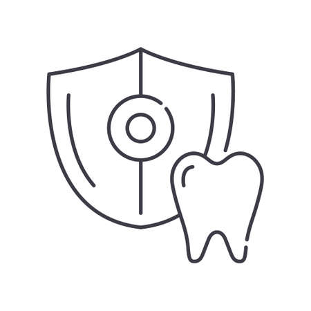 Teeth protection icon, linear isolated illustration, thin line vector, web design sign, outline concept symbol with editable stroke on white background.
