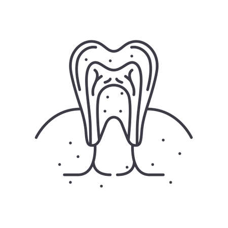 Teeth inside icon, linear isolated illustration, thin line vector, web design sign, outline concept symbol with editable stroke on white background. Ilustração