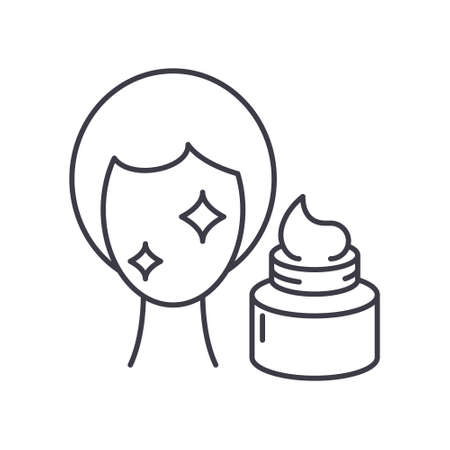 Slkin care icon, linear isolated illustration, thin line vector, web design sign, outline concept symbol with editable stroke on white background. Illusztráció