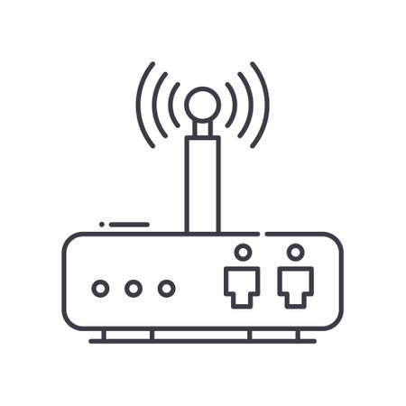 Router icon, linear isolated illustration, thin line vector, web design sign, outline concept symbol with editable stroke on white background. 向量圖像